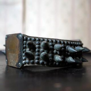 An Early 19thC Leather & Bronze Studded Dog Collar; Edward P. Clanton