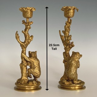 19th century Continental Ormolu Bear Candlesticks