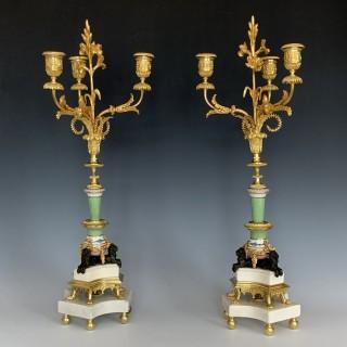 Napoleon III French Porcelain & Ormolu Mounted Candelabra
