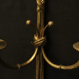 French Pair Of Gilded Bronze Rope Wall Lights