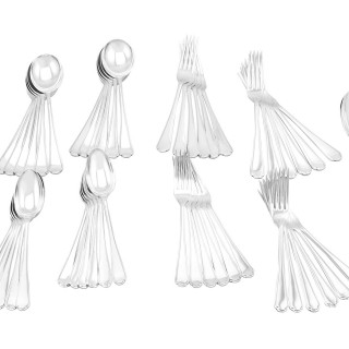 Sterling Silver Canteen of Cutlery for Twelve Persons by Walker & Hall - Antique George V (1934)