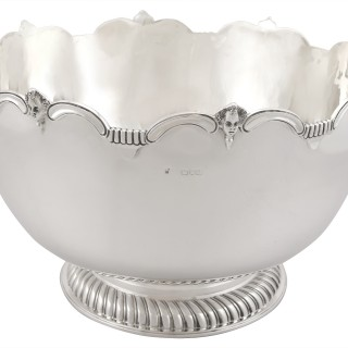 Sterling Silver Presentation Bowl - Monteith Style - Antique Edwardian (1901)