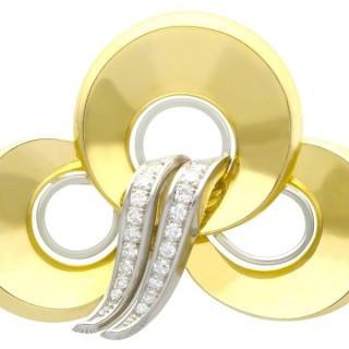 0.72ct Diamond and 18ct Yellow Gold and Platinum Brooch - Art Deco - Vintage Circa 1950