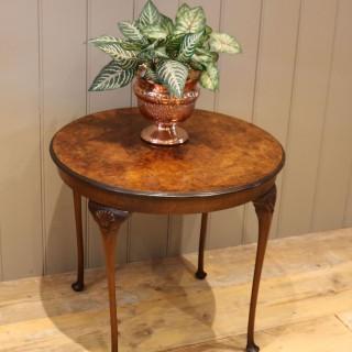 Low Circular Walnut Table