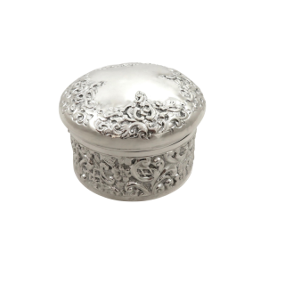 Antique Edwardian Sterling Silver Vanity Pot / Box 1903