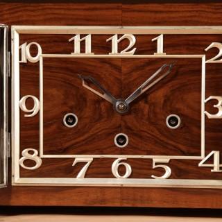 A Westminster Art Deco Walnut Mantel Clock circa 1920-40