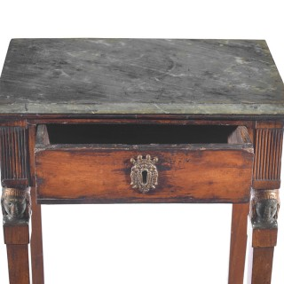 A late 18th century continental console table with a grey marble top.