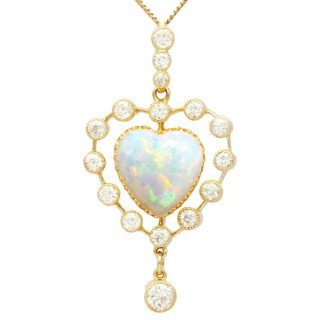 5.48 ct Opal and 2.91ct Diamond, 15 ct Yellow Gold Heart Pendant - Antique Circa 1910