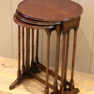 Circular Mahogany Nest Of Three Tables