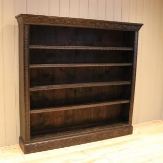 Large Victorian Open Dark Oak Bookcase