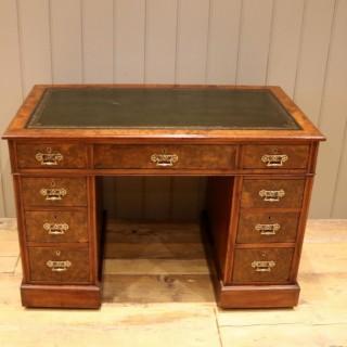 Late 19th Century Burr Walnut Pedestal Desk