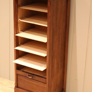 Small Proportioned Oak Tambour Front Filing Cabinet