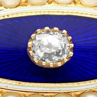 0.29ct Diamond, Seed Pearl and Enamel, 15ct Yellow Gold Brooch - Antique Victorian