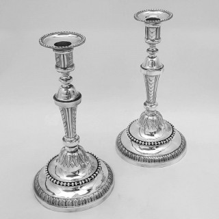 Antique French Silver Candlesticks