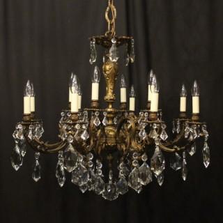 Italian Gilded Bronze & Crystal 12 Light Antique Chandelier