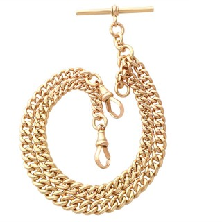 9ct Yellow Gold Double Albert Watch Chain - Antique (1925)