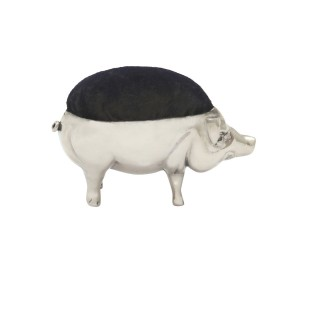 Antique Edwardian Sterling Silver Pig Pin Cushion 1910