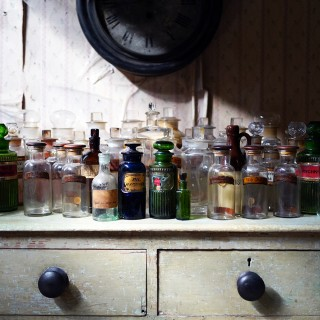 A Large Mixed Collection of Forty-Four 19thC-20thC Glass Apothecary Bottles