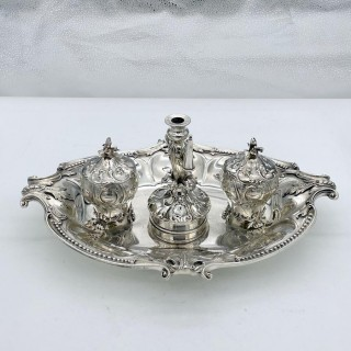 Antique Victorian Sterling Silver Inkstand London 1848 Robert Hennell