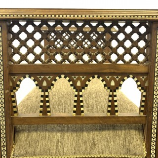 A FINE 19TH CENTURY OTTOMAN MOTHER OF PEARL INLAID OPEN WORK RECTANGULAR SEAT