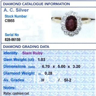 1.03ct Thai Ruby and 0.28ct Diamond, 18ct Yellow Gold Cluster Ring - Antique Circa 1930