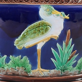 Holdcroft Majolica Heron Oval Planter/Jardiniere