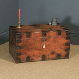 Antique English Victorian Pine & Steel Strapped Zinc Lined Campaign Chest / Trunk (Circa 1850)