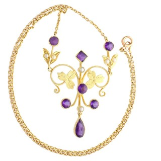 1.45ct Amethyst and Seed Pearl, 15ct Yellow Gold Necklace - Antique Circa 1880