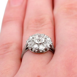 1.43ct Diamond and Platinum Cluster Ring - Antique and Contemporary
