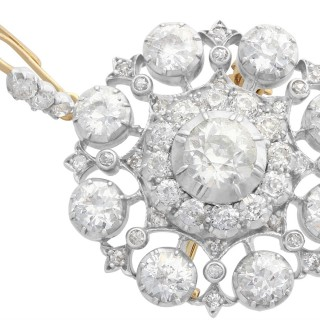 6.10 ct Diamond and 9ct Yellow Gold Brooch / Pendant - Antique Victorian