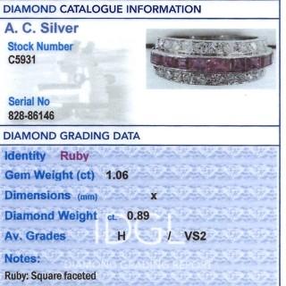 1.06ct Ruby and 0.89ct Diamond, Platinum Ring - Antique Circa 1890
