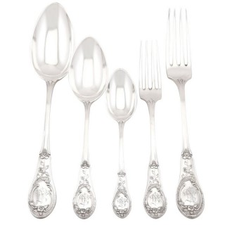 German Silver Canteen of Cutlery for Twelve Persons - Antique Circa 1895