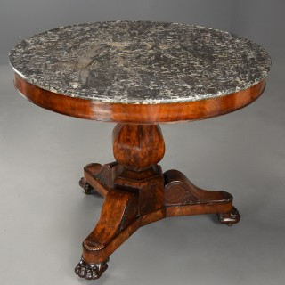 Fine quality 19thc French mahogany Gueridon table with original marble top