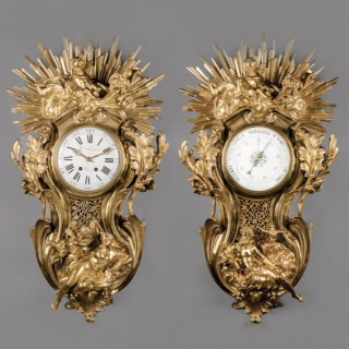 A Fine Louis XV Style  Clock and Barometer Set