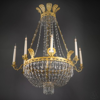 A Fine Swedish Empire Style Tent and Basket  Chandelier