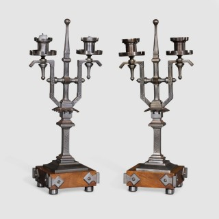 An Unusual Pair of Aesthetic Style  Candelabra