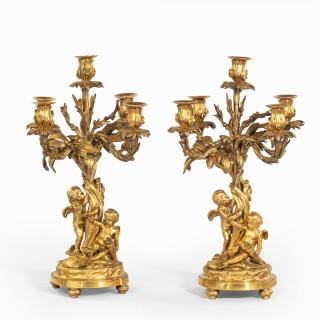 A pair of fine Napoleon III ormolu 5-branch candelabra
