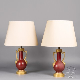A Pair of Gilt-Bronze Mounted Red Lacquer Vases, Adapted as Table Lamps