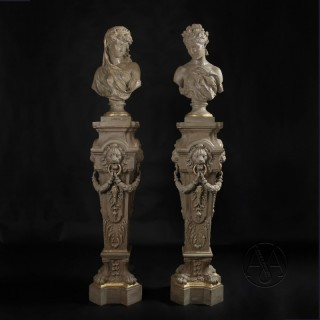 Pair of Cream-Painted and Cast Iron Busts and Pedestals Allegorical of Spring and Winter