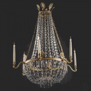A Fine Swedish Empire Style Gilt-Bronze and Cut-Crystal Tent and Basket  Chandelier
