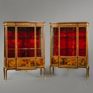 Pair of Transitional Style Gilt-Bronze and Vernis Martin Mounted Vitrines