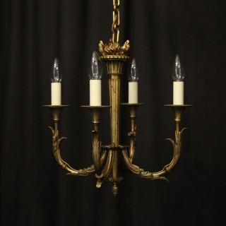 French Gilded Bronze 4 Light Antique Chandelier