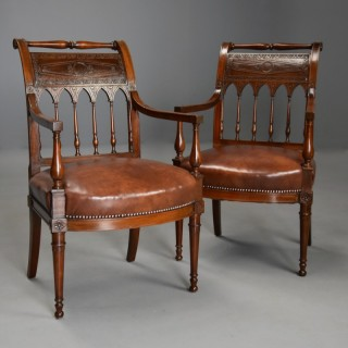 Rare & superb quality pair of French late 18thc Directoire style walnut open armchairs