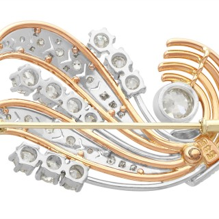 3.67 ct Diamond, 14 ct White Gold and 14 ct Rose Gold Brooch - Art Deco - Vintage Circa 1940