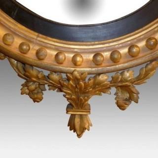 Regency Convex Mirror with Eagle Surmount and Candle Sconces