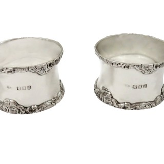 Pair of Antique Victorian Sterling Silver Napkin Rings in Case 1896