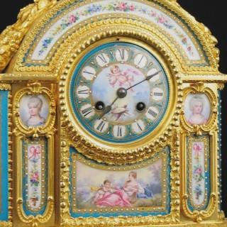 A Fine Gilt-Bronze and Sèvres-Style Porcelain Mantel Clock