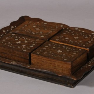 Antique Treen 19th Century Anglo Indian Rosewood Veneered Card Tray