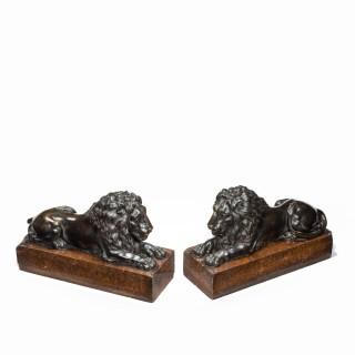 A pair of bronze lions after Boizot for chenets in the Salon de la Paix, Versailles, 1786