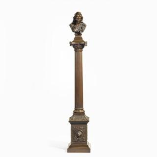 A bronze column depicting 'La Colonne de la Republique' dated 1889, after Paul LeCreux
